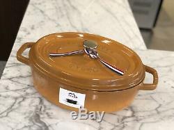Staub Cocotte Ovale 4qt (pintes) En Acier Inoxydable Jaune Moutarde Bouton Nwob