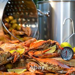 Stock Pot Bouillant Cajun Brewing Beer Crawfish Strainer Basket Avec Couvercle 21 Quart