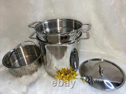 Tout-plaqué A4 En Acier Inoxydable 12 Quart Pot De Stock Avec Couvercle Cuisine 4 Pc Cuisinière