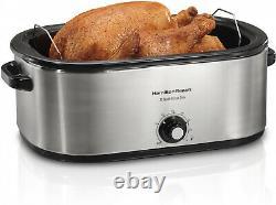 Turkey Électrique Roaster Four 22 Quart Couvercle En Acier Inoxydable Cuisinière Rôtie 28lb