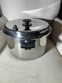 Vtg Royal Prestige 12 Quart Stock Pot Hollandais Four 7 Ply Argent Alliage Cuivre USA