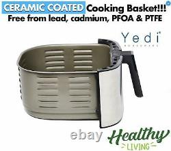 Yedi Evolution Air Fryer, 6.8 Quart, Acier Inoxydable, Panier De Cuisine En Céramique